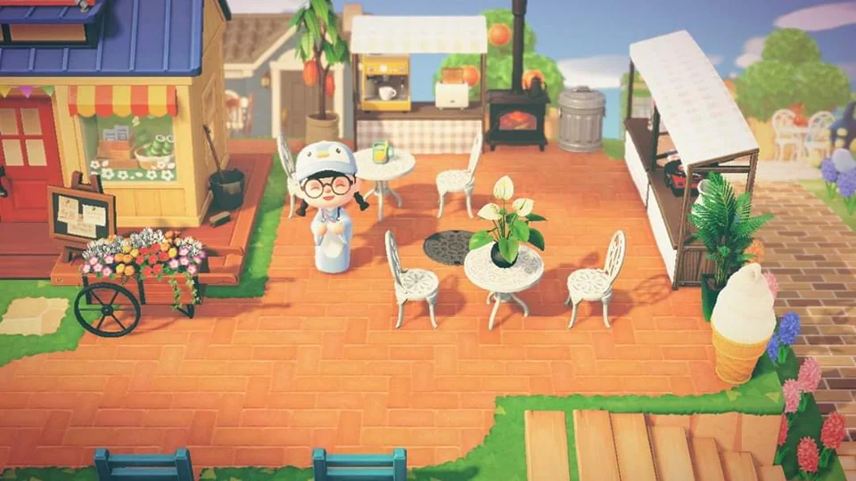 Made A Outdoor Small Lil Cafe Nooks Cranny Cafe Animalcrossingtours Animal Crossing Animal Crossing Wild World Animal Crossing Cafe