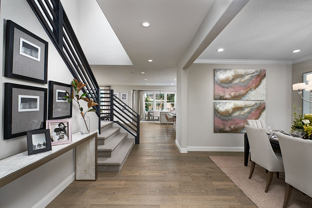 Elegant entry & dining room Seth model home Stockton