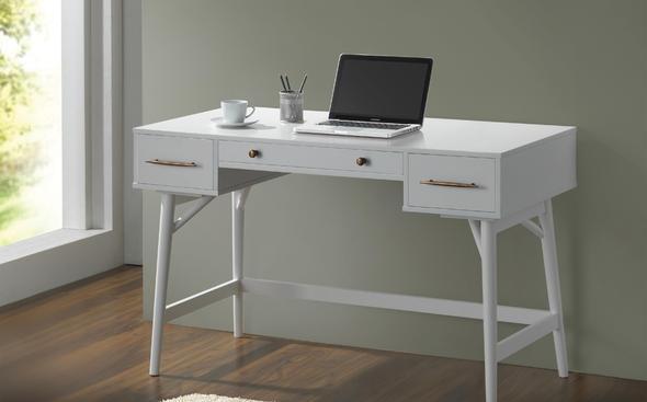 Mugga White Computer Desk 800745 Coaster Furniture Office Desks In 2020 White Writing Desk White Desk With Drawers Modern White Desk