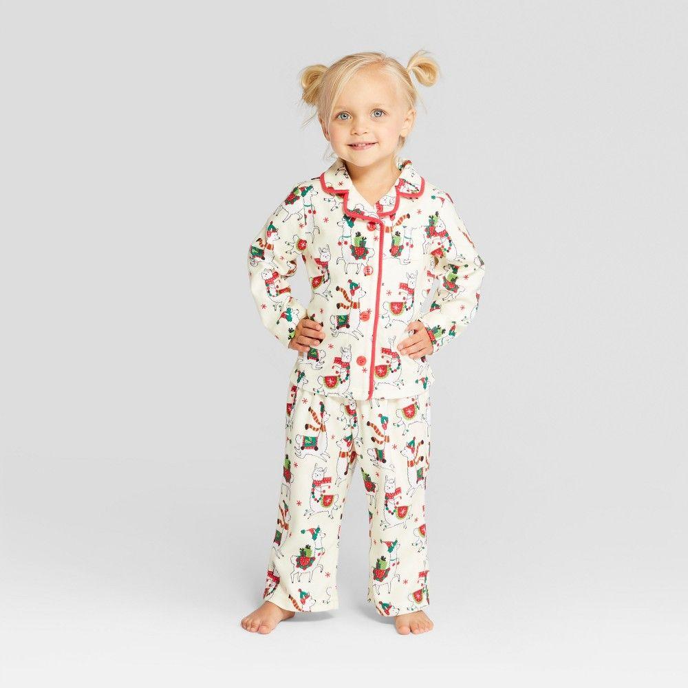 036058ec5e77 Nite Nite Munki Munki Toddler Holiday Llama Notch Collar Pajama Set ...