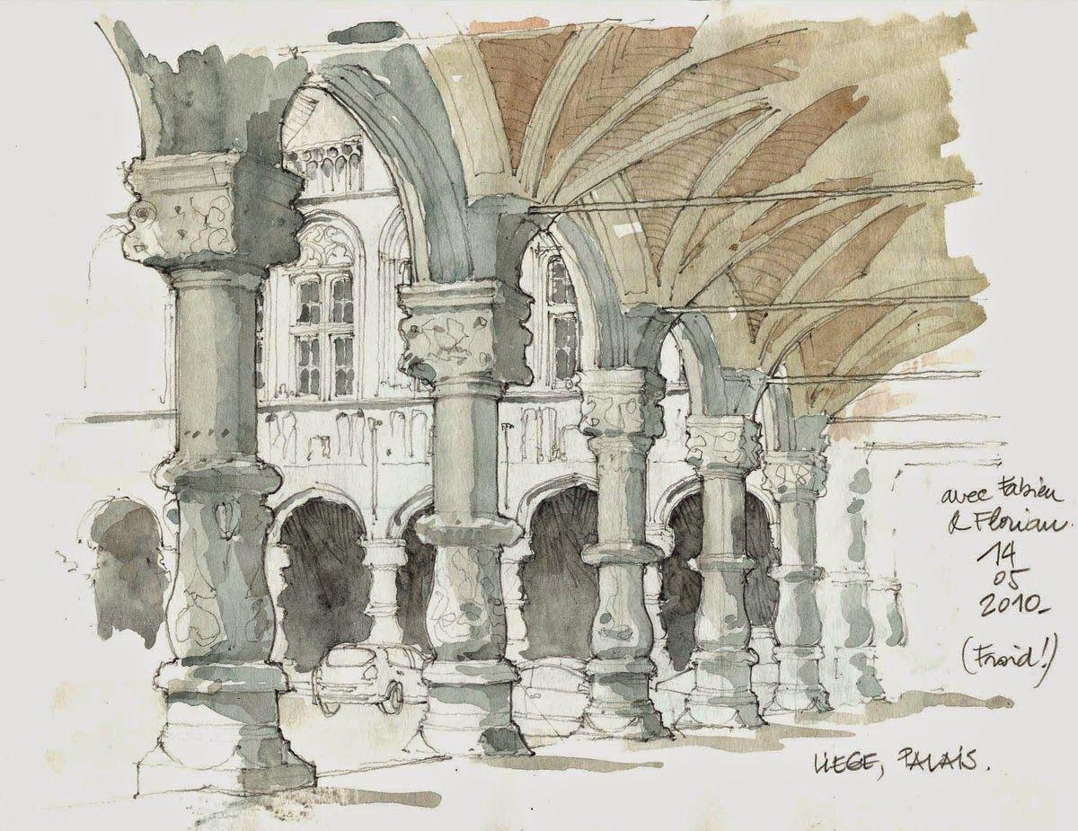 Urban Sketchers: From September 10 to 13, European sketchers in Liège (Belgium). I love the pillars.