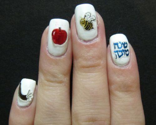 #JewishNewYear nails / Uñas con temática de #RoshHashana  www.enlacejudio.com