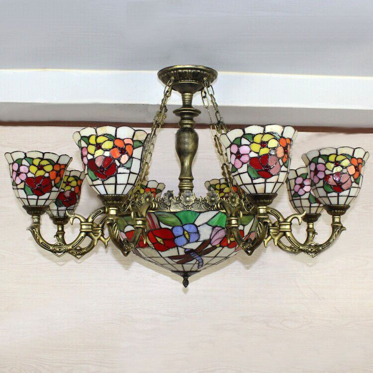 $472.00 (Buy here: http://appdeal.ru/etid ) European Style Stained Glass Pendant Light Artistic Tiffany Cafe Lamp Living Room Pendant Light Dragonfly Flower Shape Dia 100cm for just $472.00