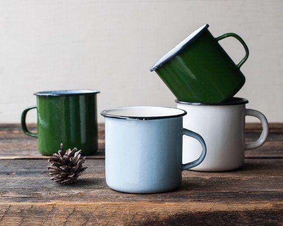 Vintage Enamel Mug for Camping - Travel Mug, Campfire Mug, Enamel Cup, Vintage Enamelware