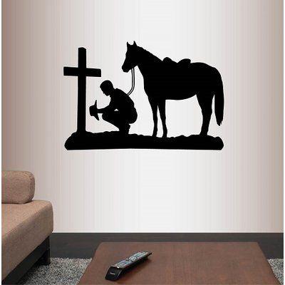Millwood Pines Cowboy Praying Kneeling Cross Horse Wall Decal