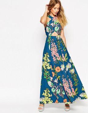 b08ed7bf02 Vestido largo de flores con abertura en forma de cerradura y espalda de  tiras estilo años 70 de ASOS