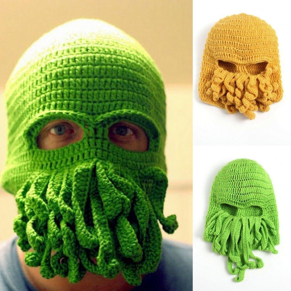 Men Women Crochet Knitted Octopus Balaclava Helmet Hat Ski Mask ...