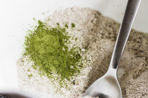 Green Matcha Waffles made with oat + pumpkin seed flour | edibleperspective.com