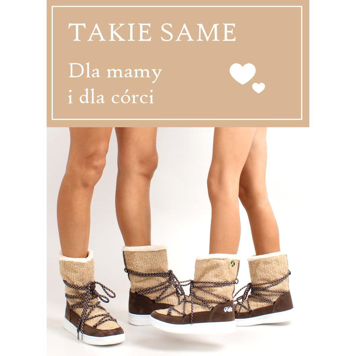 Kozaczki Dla Dzieci Obuwiedamskie Brazowe Dzieciece Sniegowce Eskimoski K1646102 Beig Obuwie Damskie Kid Shoes Beige Sporty Chic