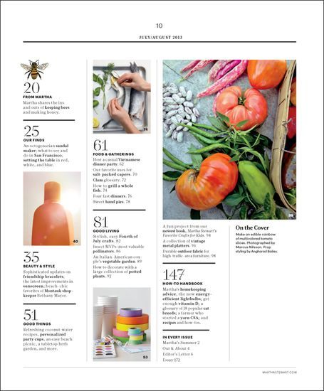 Image result for magazine table of contents