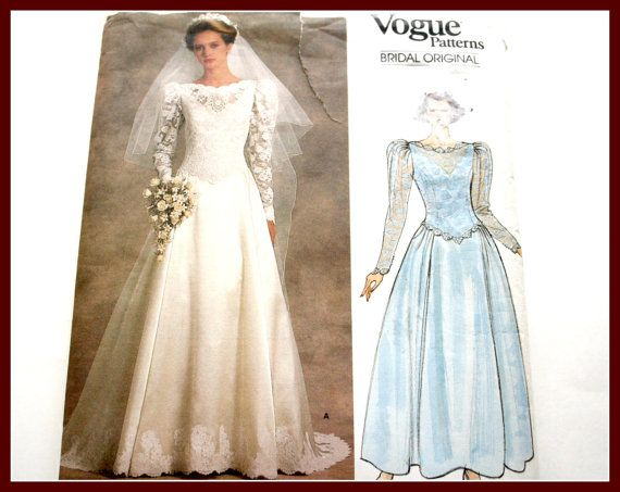LACE Overlay Bridal Gown Sewing Pattern, Wedding Dress, Uncut Vogue ...