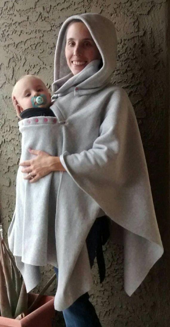 Volltonfarbe Babytrage Poncho-Gugug Poncho warmem Fleece | Nähen ...