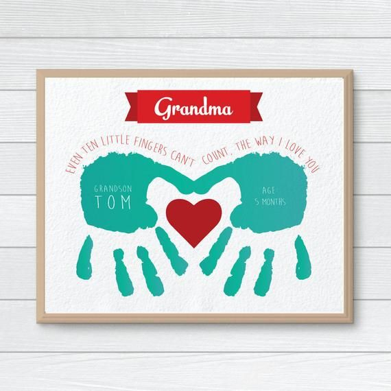 Personalized Gift for Grandmother, CUSTOM Handprint Art, Mother's Day, Hand Print, Gift from Kids, G #grandparentsdaycraftsforpreschoolers