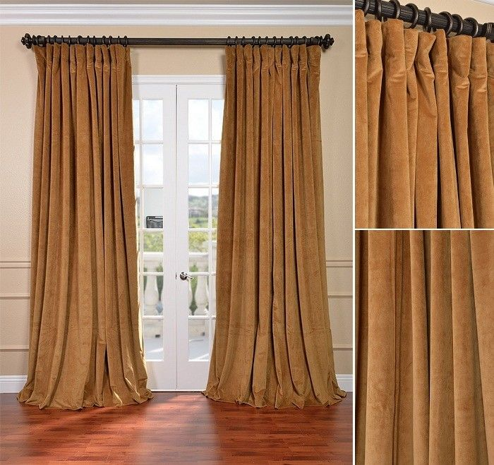 Double Wide Velvet Blackout Curtains 100 X 108 Amber Gold Silk