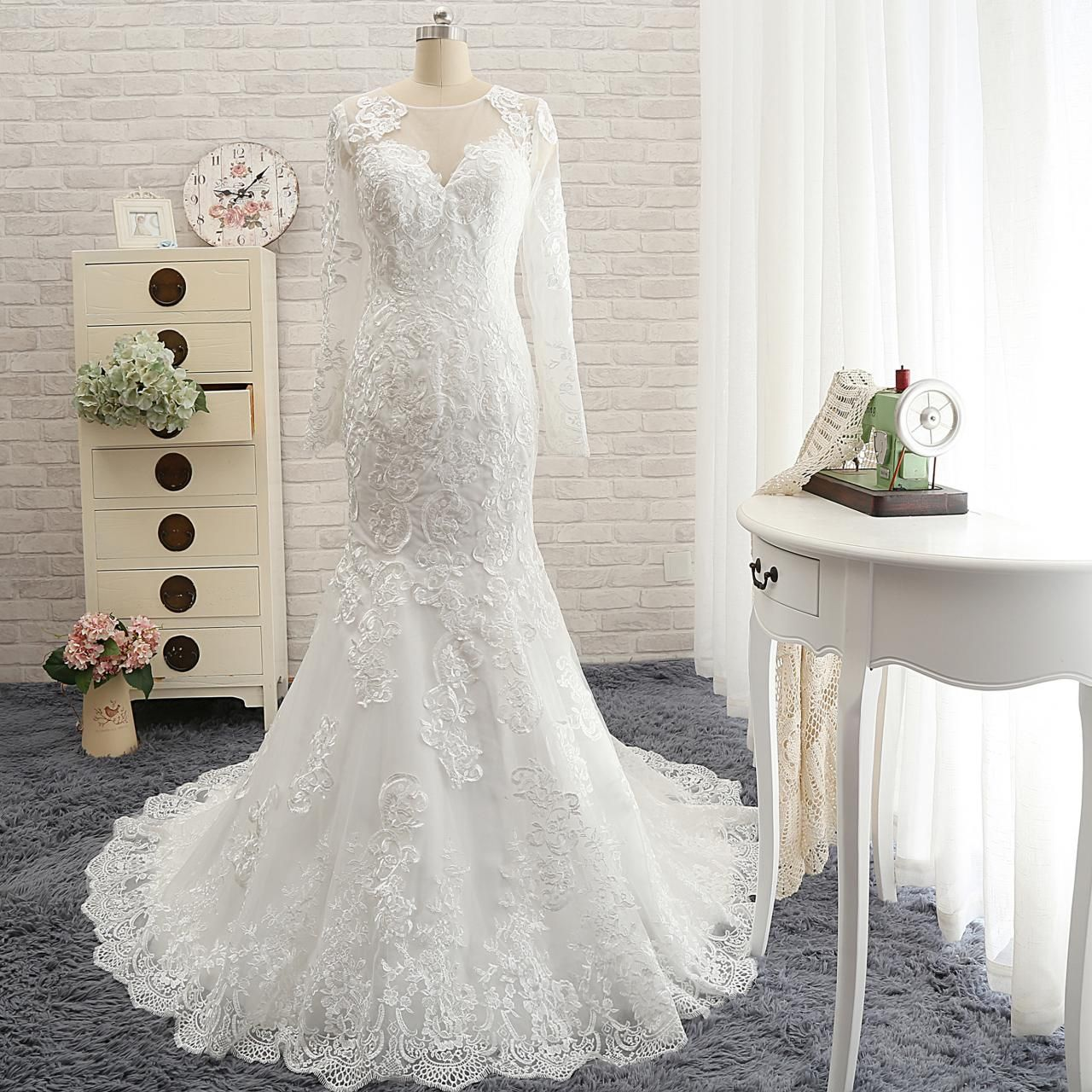Full lace mermaid wedding dresslong sleeves lace wedding wedding