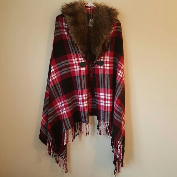 Faux Fur Trim Shawl Brand new with tags. Gorgeous, comfortable long shawl. Hook front closure. Feel free to make an offer! Woven Hearts Sweaters Shrugs & Ponchos