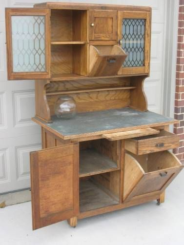 Early Hoosier Style Kitchen Cabinet with Tilt Out Bins, Etched Glass ...
