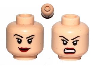 Bared Teeth Red Eyes LEGO Minifigure Head LIGHT FLESH Male Dual Determined