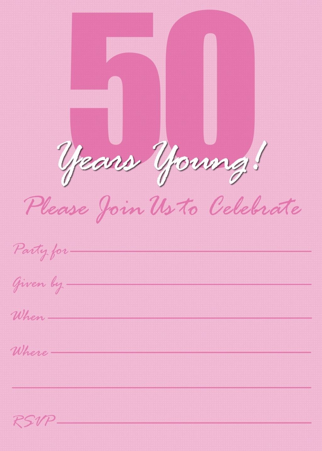 Free Printable 50th Birthday Party Invitation Templates – 50th Birthday Invitation Template Free