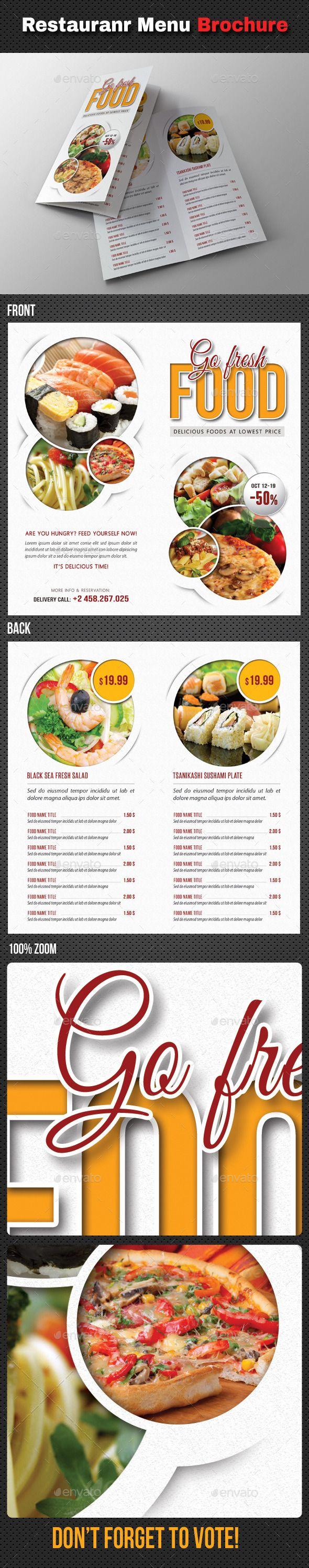 Go Fresh Restaurant Menu Bifold Brochure | Restaurante