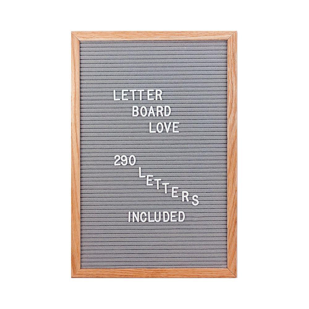 12 215 18 Felt Letter Board Oak Frame Gray