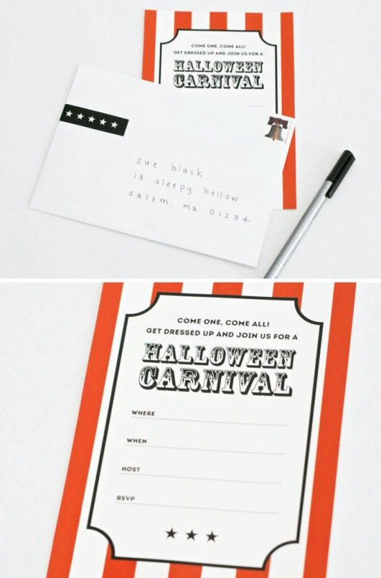 free printable Halloween Carnival Invite and Envelope Wrap One – Free Printable Circus Birthday Invitations