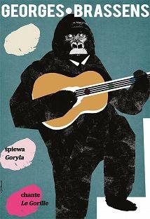 Georges Brassens Spiewa Goryla Plakat Muzyczny Poster Music Poster Georges Brassens