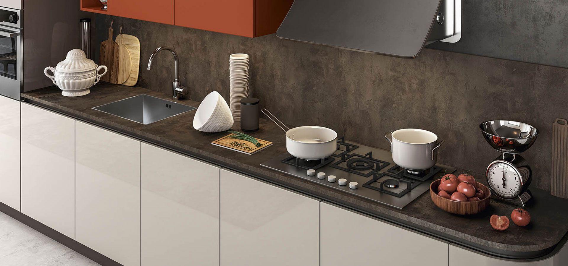 Cucina Moderna - Time Finiture: ecrù lucido, mattone opaco | Top ...