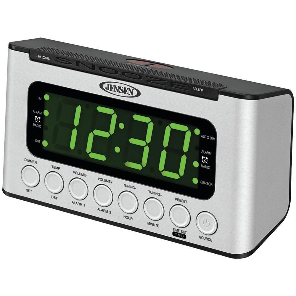 JENSEN JCR-231 Digital AM-FM Dual Alarm Clock Radio with Wave Sensor