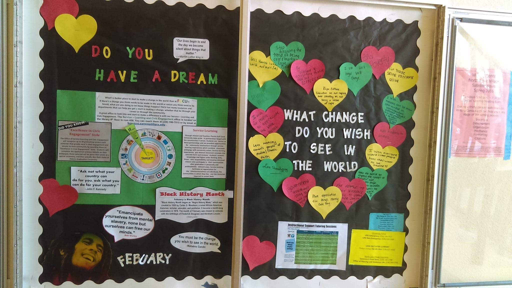 College bulletin board for february on community service