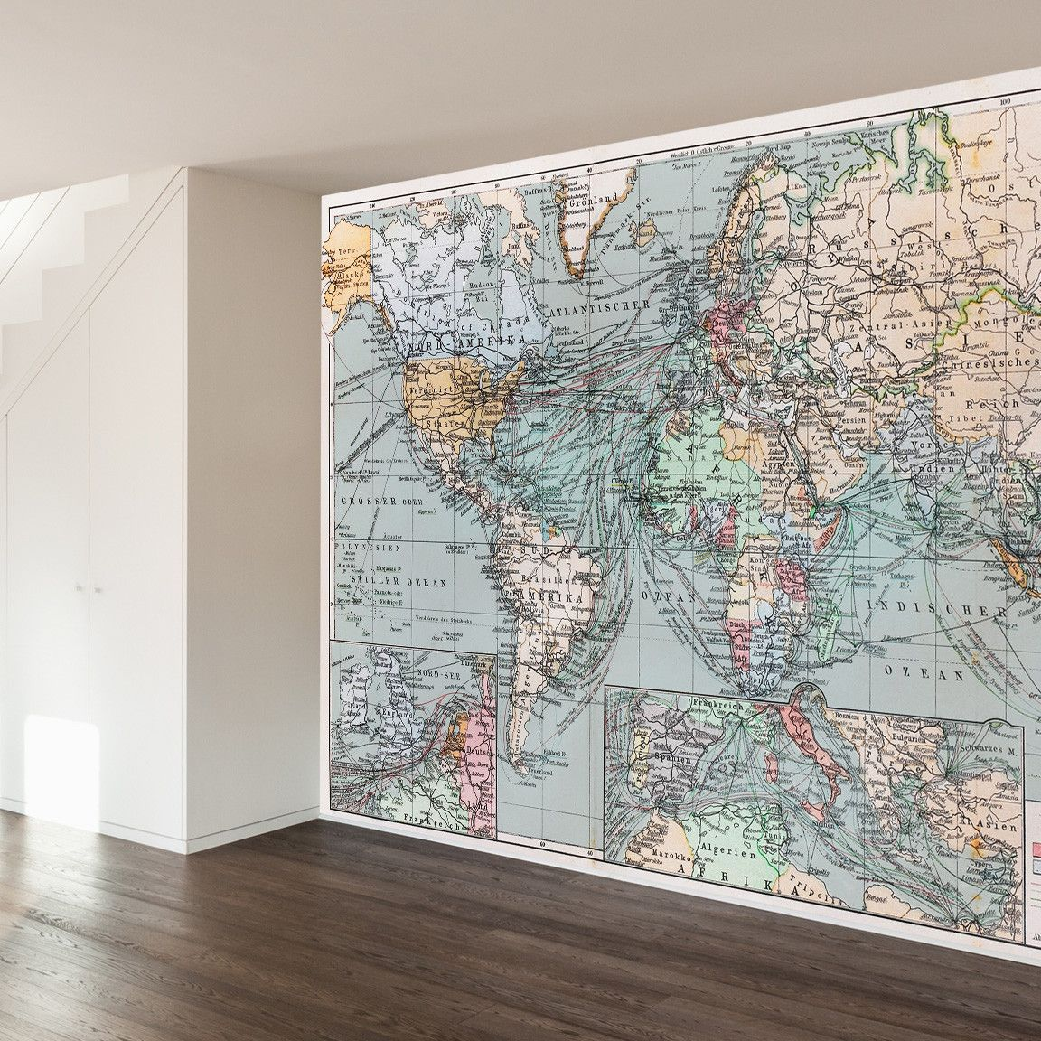 Vintage world map wall mural decal wallsneedlove buyable pins vintage world map wall mural decal wallsneedlove gumiabroncs Images