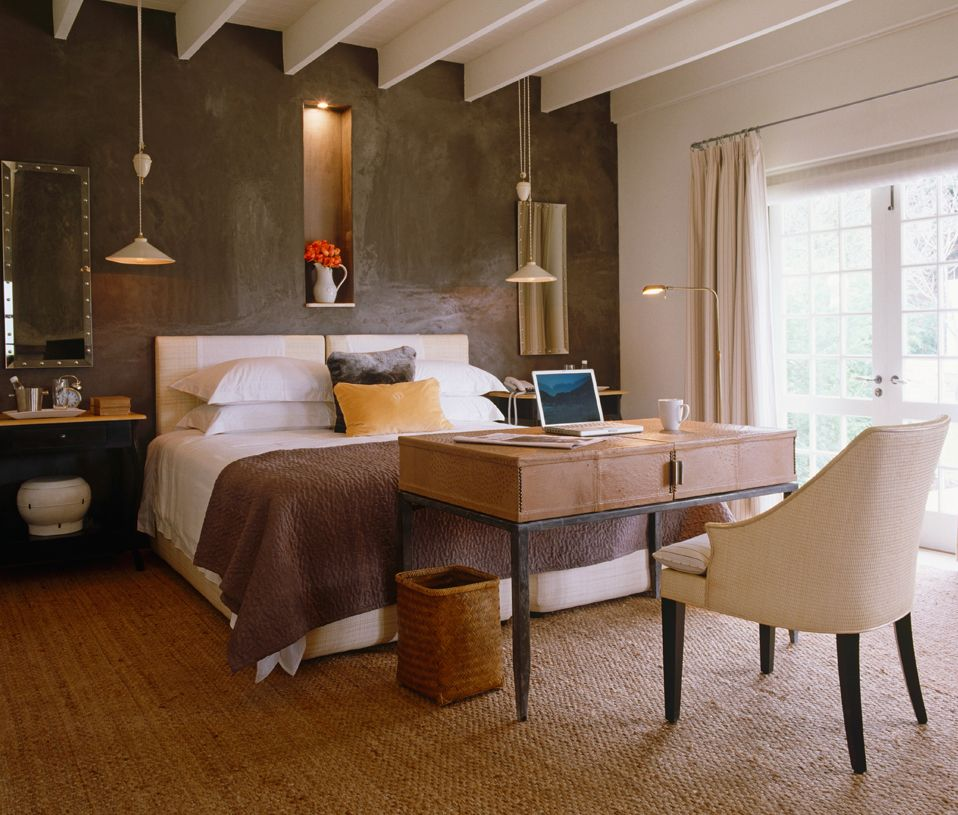 Schlafzimmer Und Arbeitszimmer #24: Schlaf- Und Arbeitszimmer Auf Gemütlich-elegante Art Und Weise  Zusammengebracht.