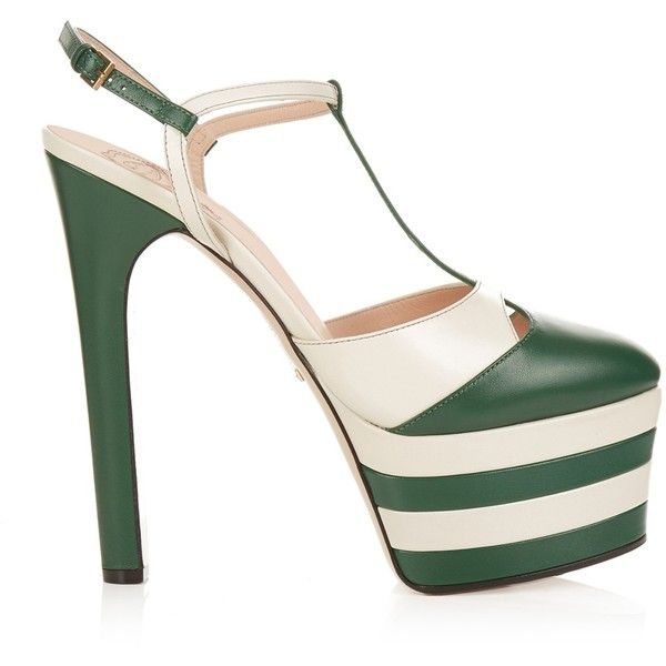 ed97743cf6a371 These vertiginous green and white capra-leather Angel sandals were a  seductive foil to the bookish looks on Gucci s runway.
