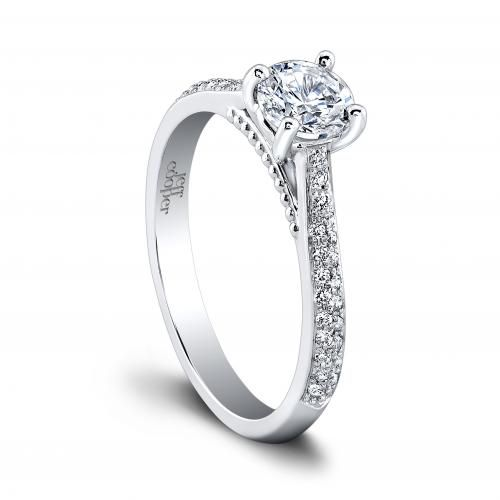"""Jeff Cooper """"Tricia"""" engagement ring with pave diamond sides and bead detail under center stone. Style 1505/RDLW"""