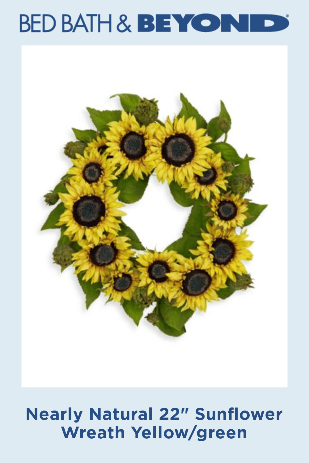 """Photo of Almost natural 22 """"sunflower wreath yellow / green"""