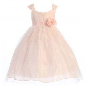 f155064e72 Calla Collection Little Girls Peach Polysilk Tulle Flower Girl Dress 2T-6