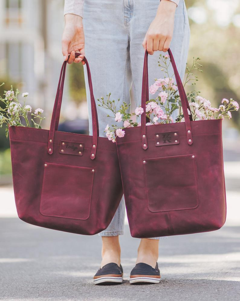 Leather Tote Bag Anniversary Gift For Her Girlfriend Etsy Leather Tote Bag Anniversary Gifts Leather Anniversary Gift