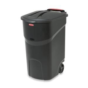 Black Round Trash Can Heave Duty Waste Bin Container with Lid Roughneck 20 Gal