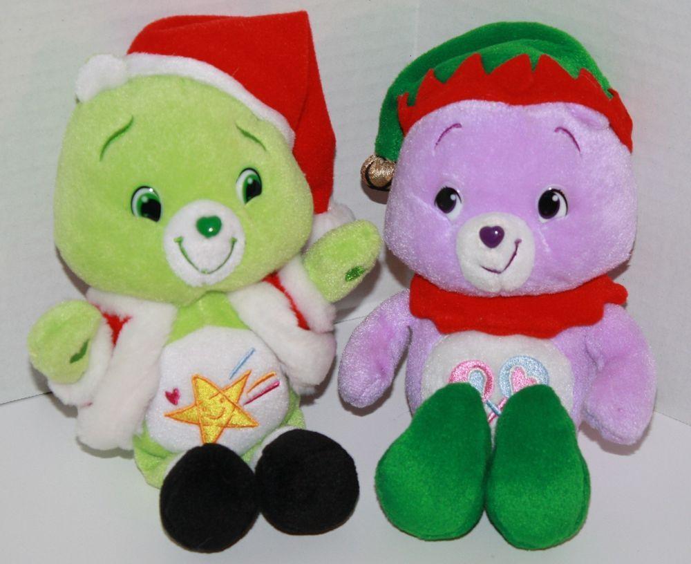 Care Bears Plush Lot Of 2 Oopsy Santa Share Elf Christmas Holiday Soft Toys 9 034 Care Bears Plush Christmas Plush Christmas Elf