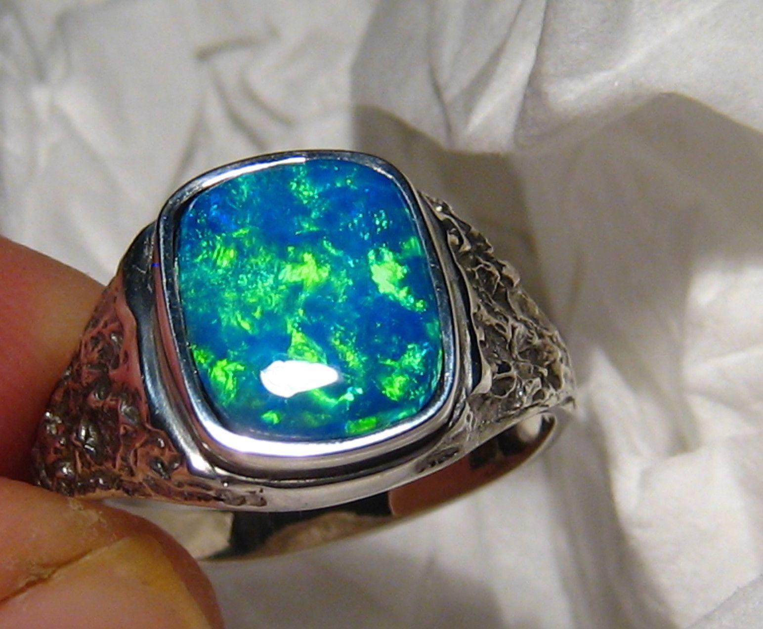 Blue Green Australian Opal Mens Ring Nugget Style 18k White Gold