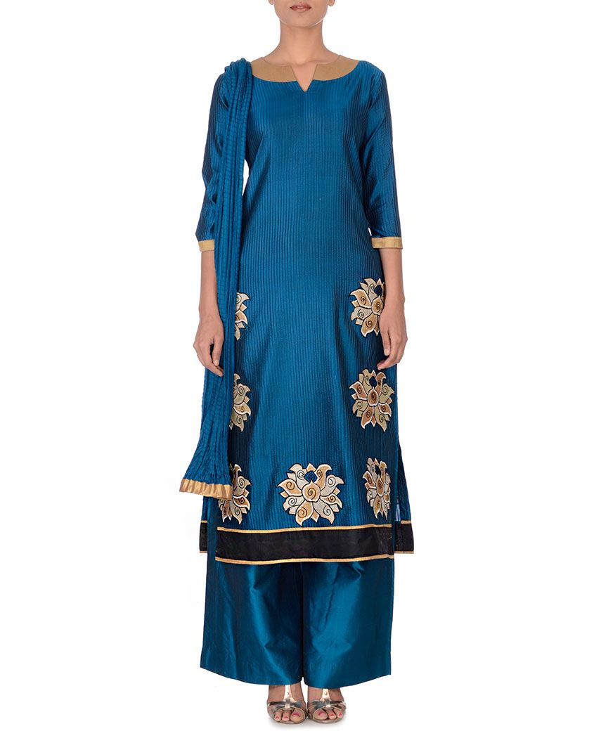Poonam bhagat peacock blue suit with floral applique fantasy