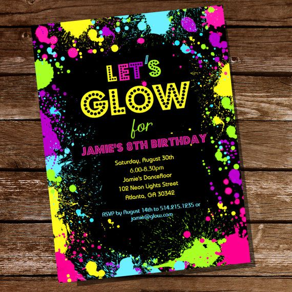 let's glow neon party invitation  tween party invitation  party, black light dance party invitations, black light glow party invitations, black light party invitation templates