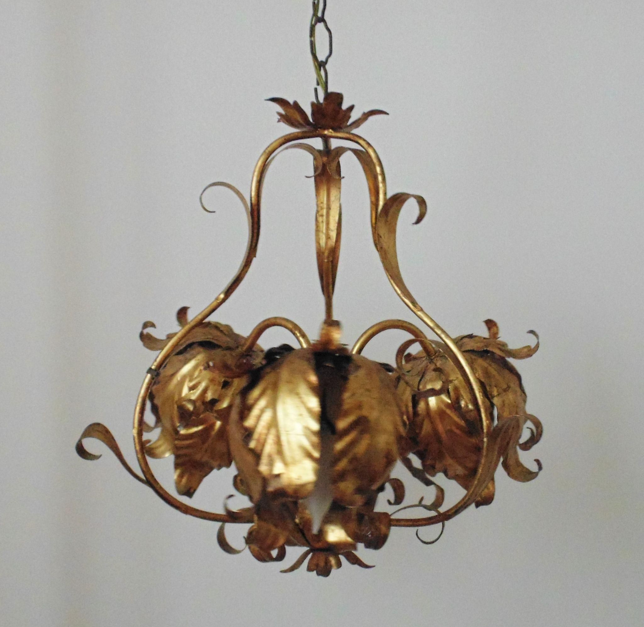 Modern italian tole chandelier gilt metal flowers floral birdcage modern italian tole chandelier gilt metal flowers floral birdcage mid century hollywood regency glam italy gold arubaitofo Image collections