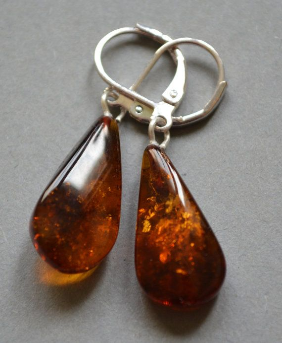 Baltic Amber Earrings  Brown Color by luarart on Etsy, $11.95