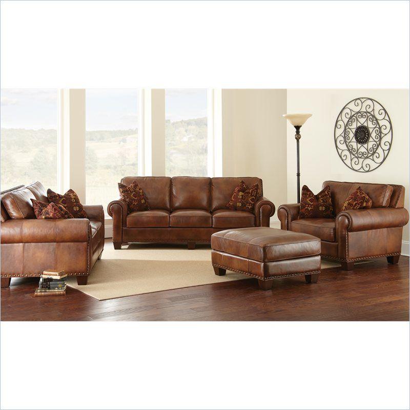 Steve Silver Company Silverado 4 Piece Leather Sofa Set In Caramel Brown Sr910s L C T Sofa 4pcs Leather Living Room Set Living Room Leather Brown Living Room #tan #leather #living #room #sets