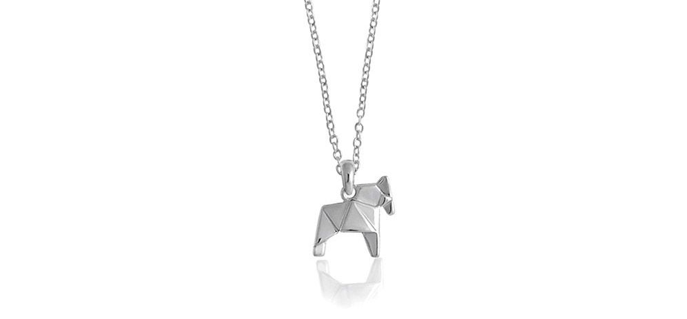 ~ Horse necklace ~ Rhodium plated sterling silver horse origami short necklace by Bowerbird Australia | $89.95