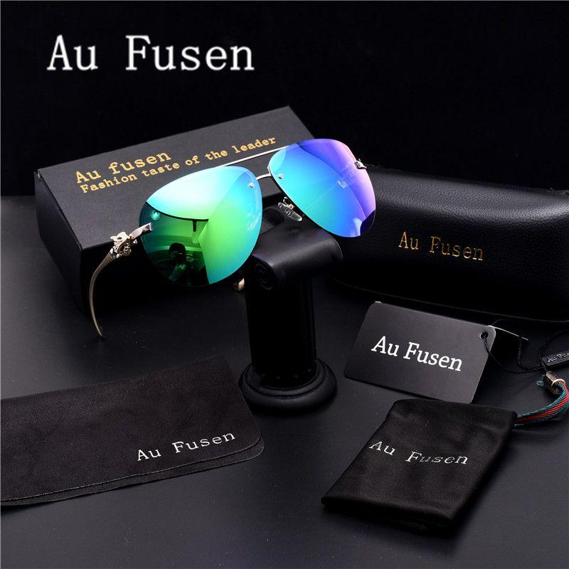 0d2e8ec0ea0 AuFusen Brand Fox head bright color designer advanced Polarized Sunglasses  Luxury men Leisure Driving Sun glasses