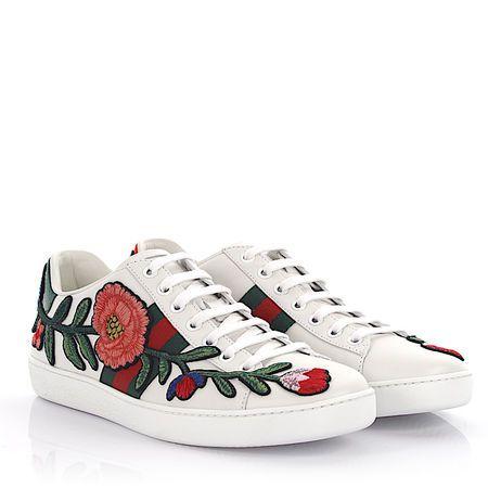 gucci blumen sneaker flower sneaker ace leder wei. Black Bedroom Furniture Sets. Home Design Ideas