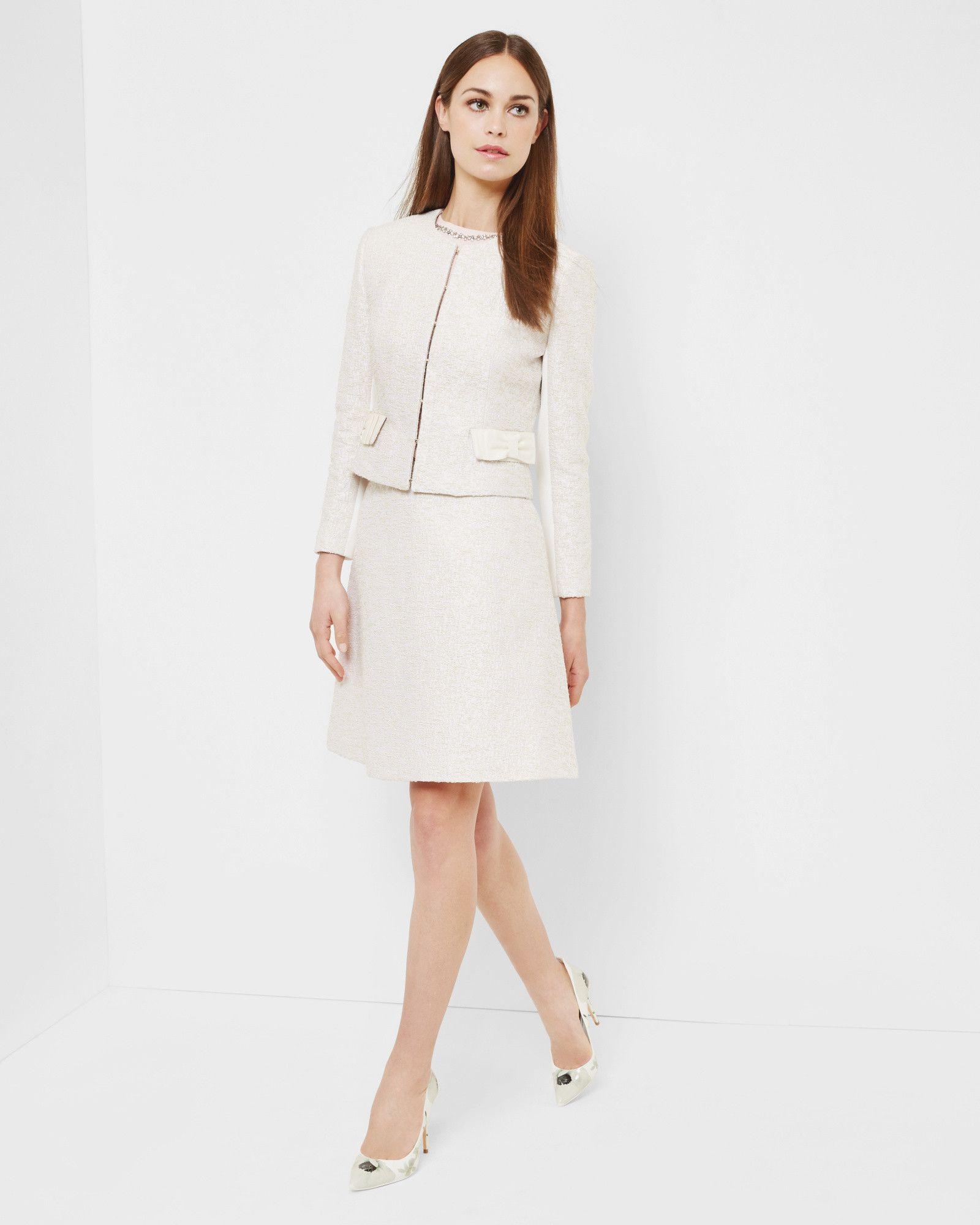 f18a57550 Bouclé bow jacket - Cream