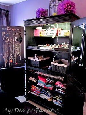Converting an old entertainment center in to a wardrobe. Organization for jewelry, clothing, baskets..